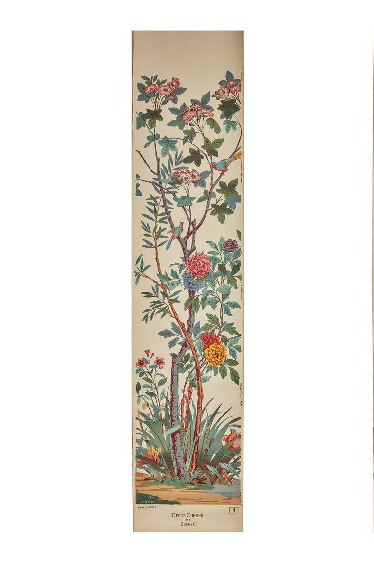 Zuber, 'Decor Chinois' Hand Wood Block Scenic Wall Paper Red Line Color Way For Sale 6