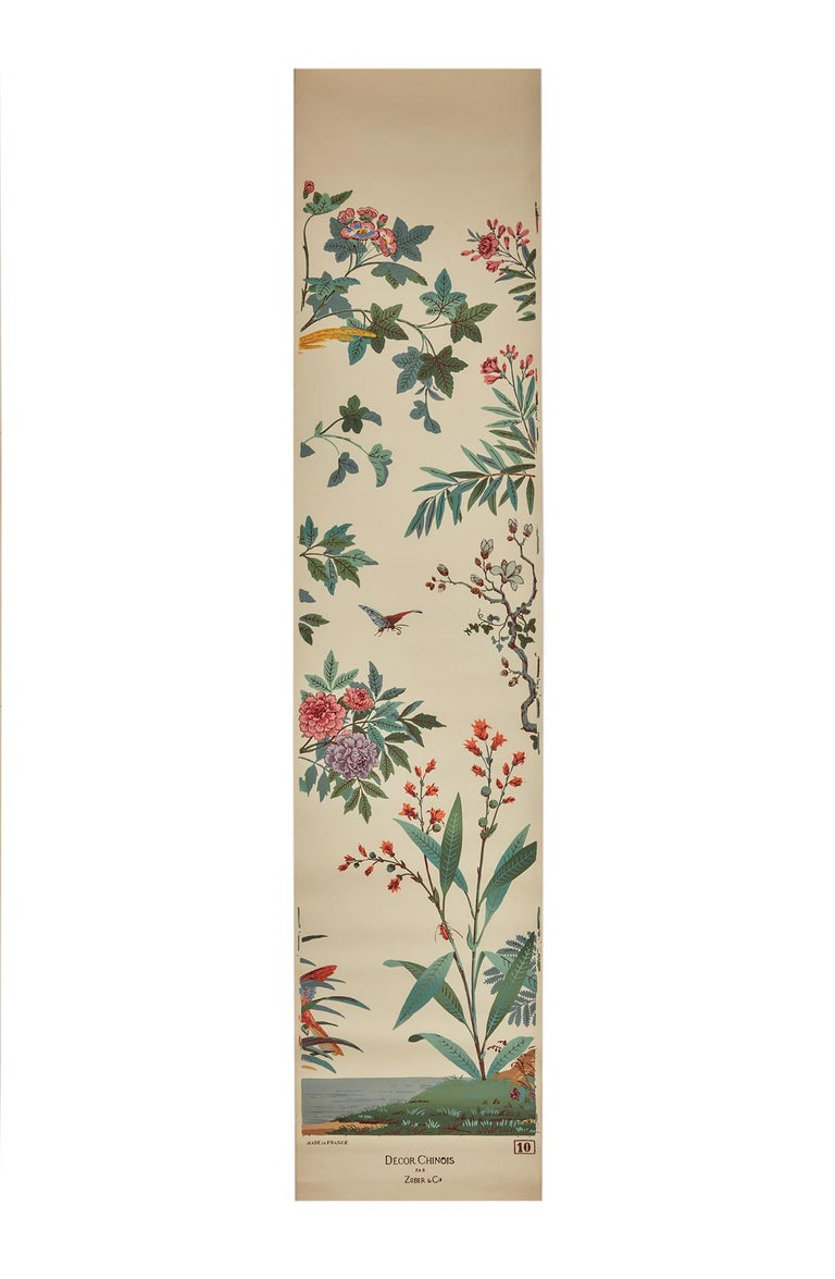 Other Zuber, 'Decor Chinois' Hand Wood Block Scenic Wall Paper Red Line Color Way For Sale