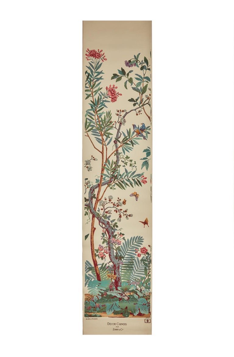 French Zuber, 'Decor Chinois' Hand Wood Block Scenic Wall Paper Red Line Color Way For Sale