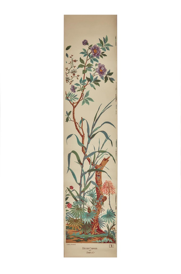 Zuber, 'Decor Chinois' Hand Wood Block Scenic Wall Paper Red Line Color Way In Good Condition For Sale In Rixheim, FR