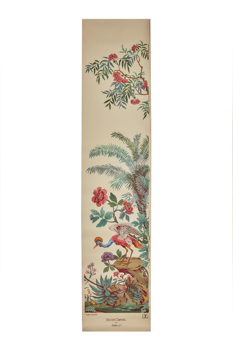 20th Century Zuber, 'Decor Chinois' Hand Wood Block Scenic Wall Paper Red Line Color Way For Sale