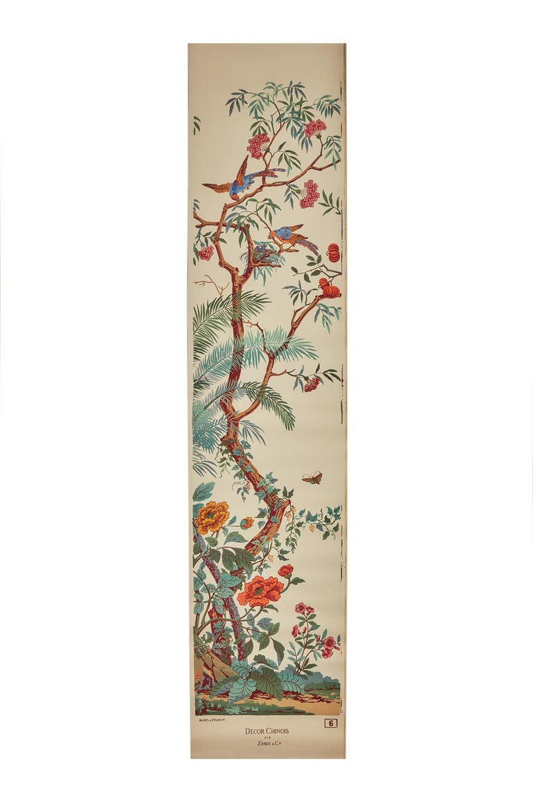 Zuber, 'Decor Chinois' Hand Wood Block Scenic Wall Paper Red Line Color Way For Sale 1