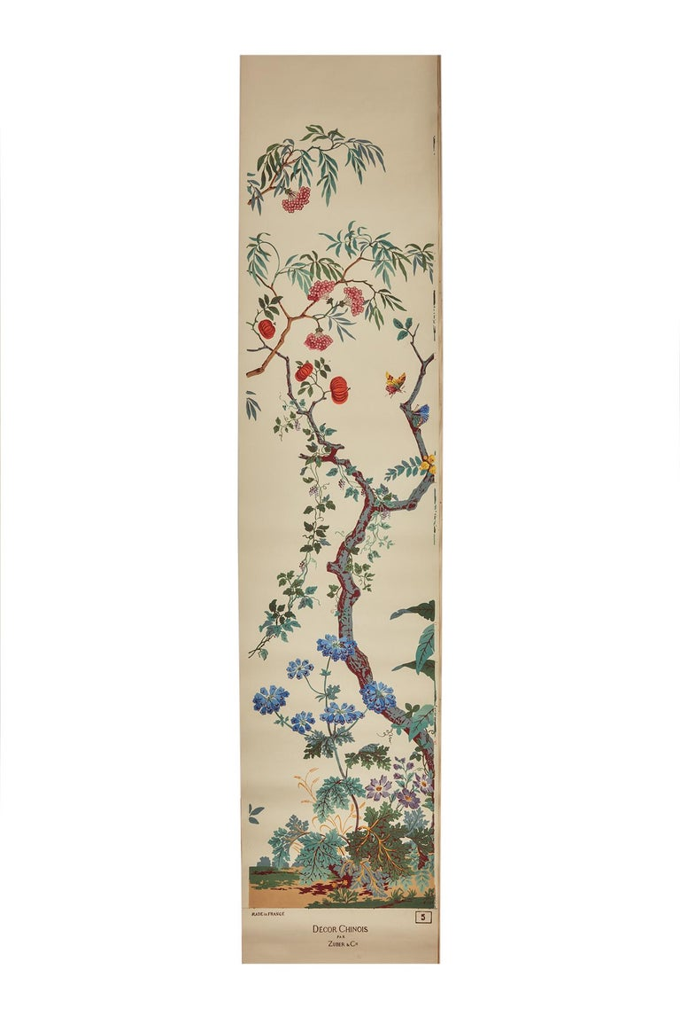 Zuber, 'Decor Chinois' Hand Wood Block Scenic Wall Paper Red Line Color Way For Sale 2