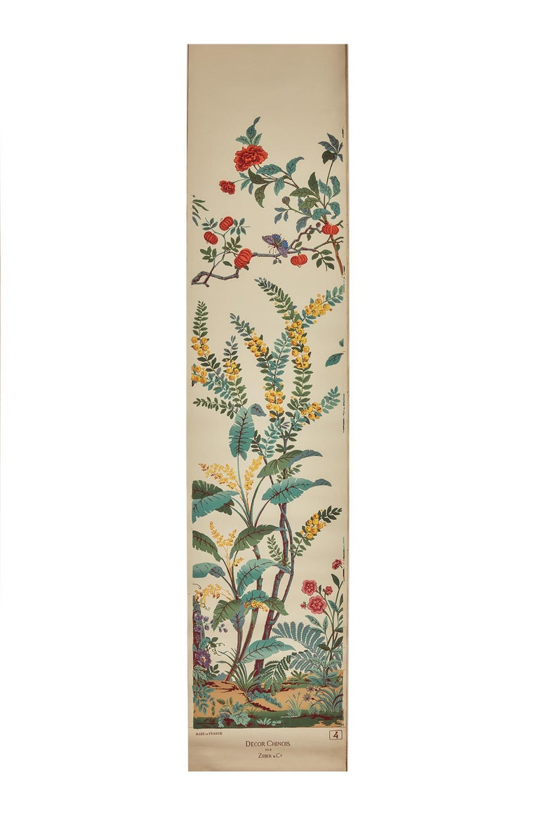 Zuber, 'Decor Chinois' Hand Wood Block Scenic Wall Paper Red Line Color Way For Sale 3