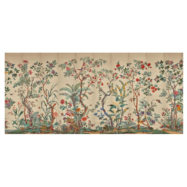 Zuber, 'Decor Chinois' Hand Wood Block Scenic Wall Paper Red Line Color Way For Sale