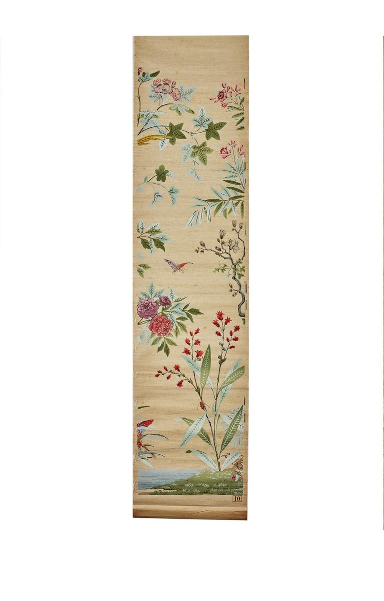Chinoiserie Zuber, 'Decor Chinois' Hand Wood Blocked on Grasscloth Scenic Wall Paper For Sale