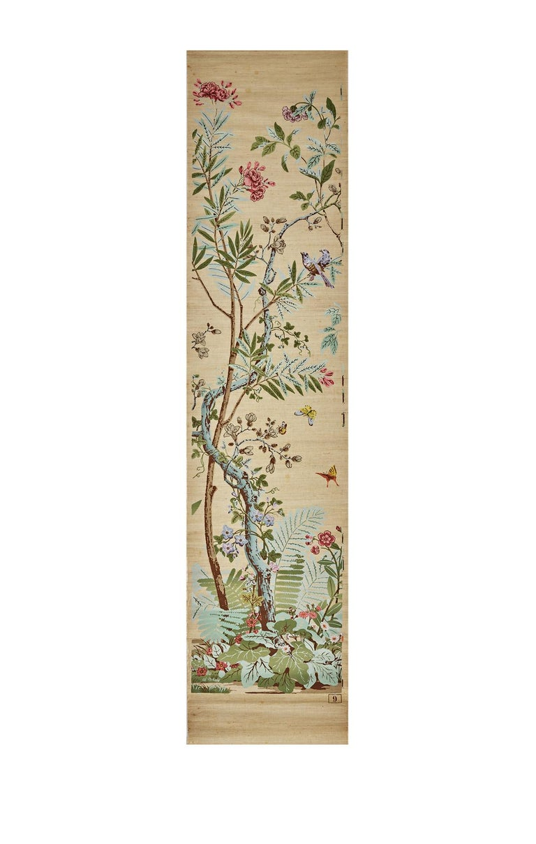 French Zuber, 'Decor Chinois' Hand Wood Blocked on Grasscloth Scenic Wall Paper For Sale