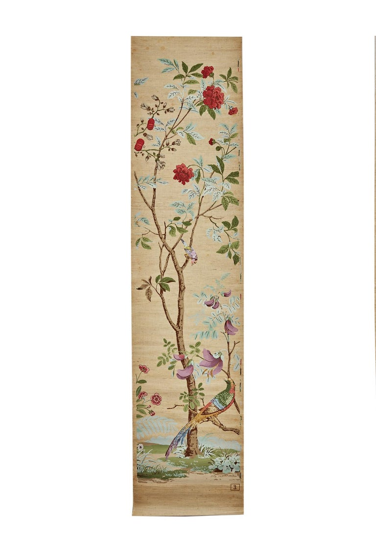 Zuber, 'Decor Chinois' Hand Wood Blocked on Grasscloth Scenic Wall Paper In Good Condition For Sale In Rixheim, FR