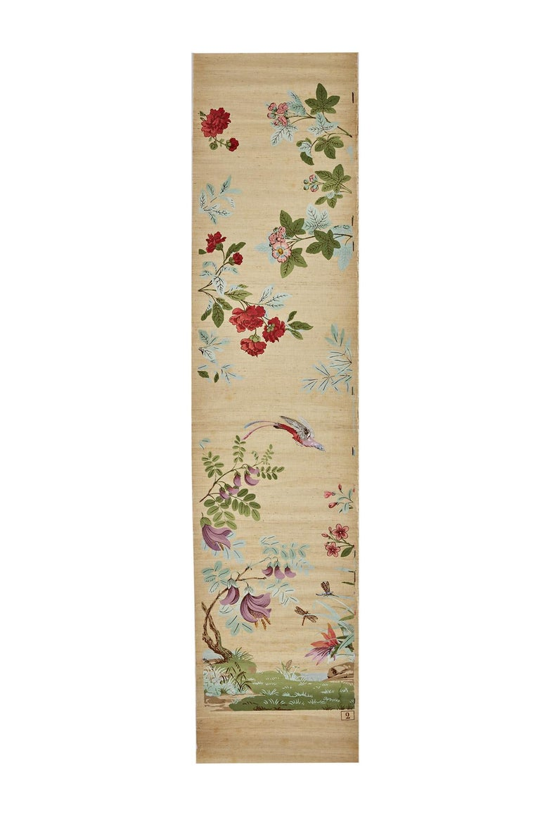 20th Century Zuber, 'Decor Chinois' Hand Wood Blocked on Grasscloth Scenic Wall Paper For Sale