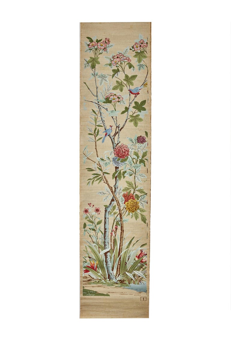 Zuber, 'Decor Chinois' Hand Wood Blocked on Grasscloth Scenic Wall Paper For Sale 1