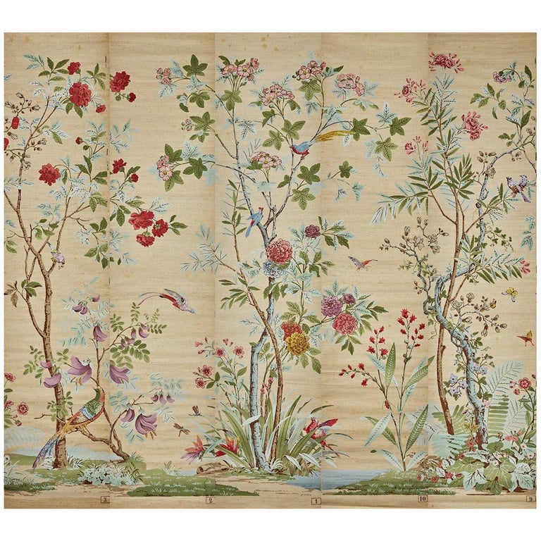 Zuber, 'Decor Chinois' Hand Wood Blocked on Grasscloth Scenic Wall Paper For Sale