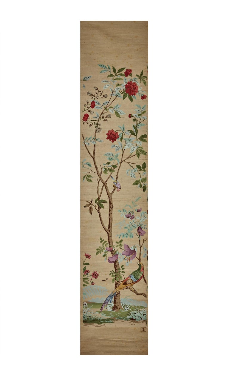 Zuber, 'Decor Chinois' Hand Wood Blocked on Grasscloth Scenic Wallpaper For Sale 5