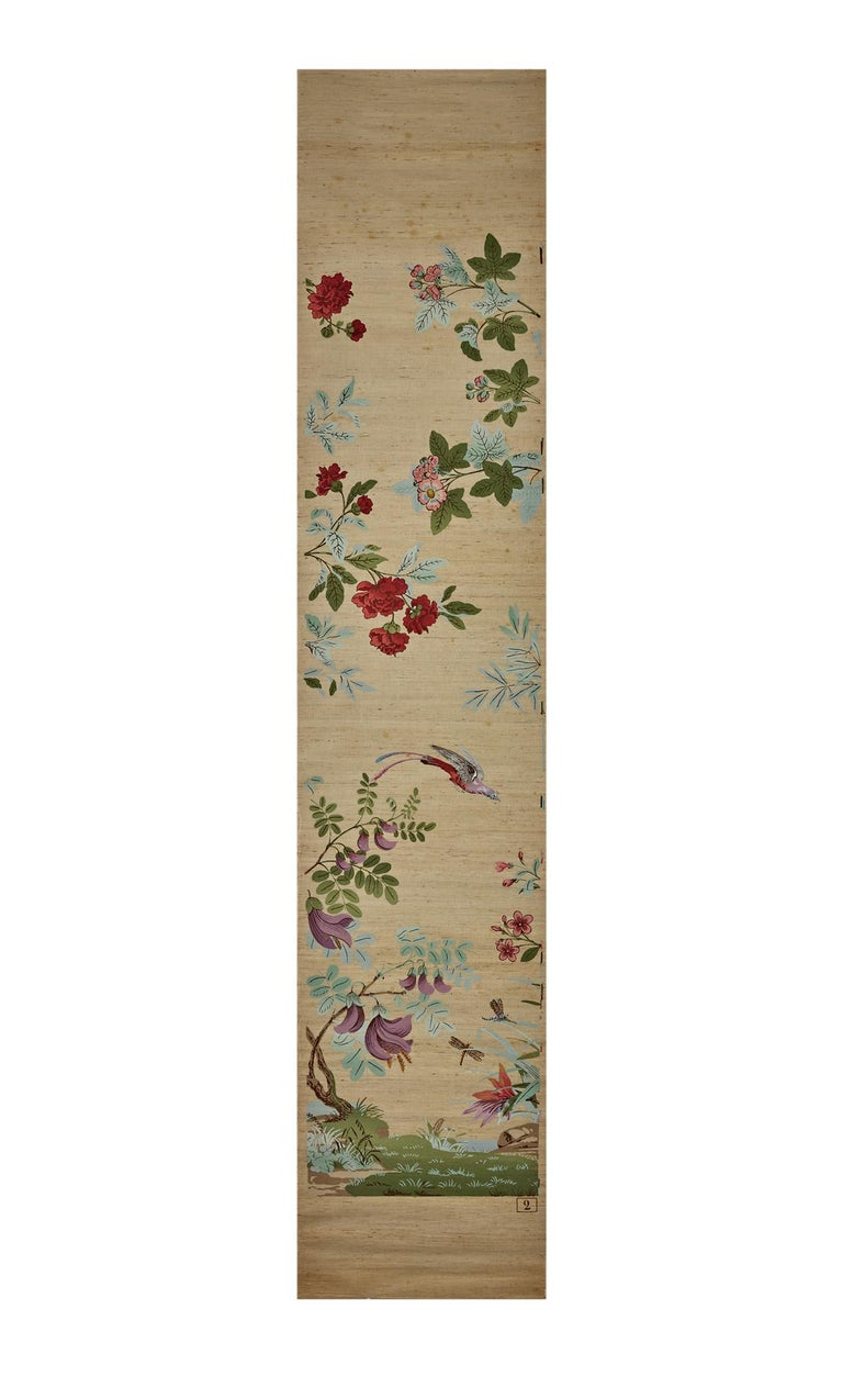 Zuber, 'Decor Chinois' Hand Wood Blocked on Grasscloth Scenic Wallpaper For Sale 6