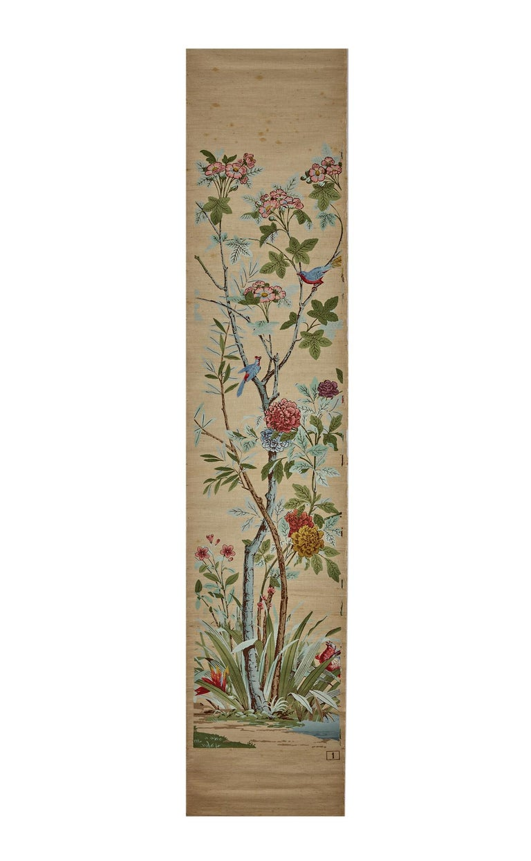 Zuber, 'Decor Chinois' Hand Wood Blocked on Grasscloth Scenic Wallpaper For Sale 7