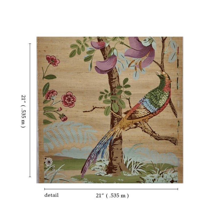 Chinoiserie Zuber, 'Decor Chinois' Hand Wood Blocked on Grasscloth Scenic Wallpaper For Sale