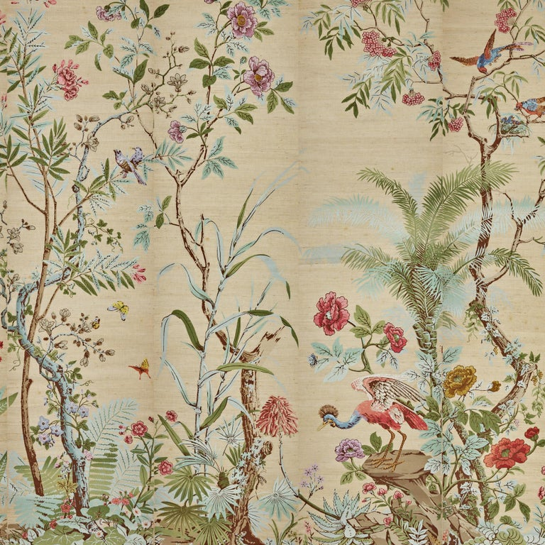 'Decor Chinois' hand wood blocked on Grasscloth 10-panel scenic wall paper panels 1-10 Made with the original wood blocks from 1800s  Individual panel size: 21