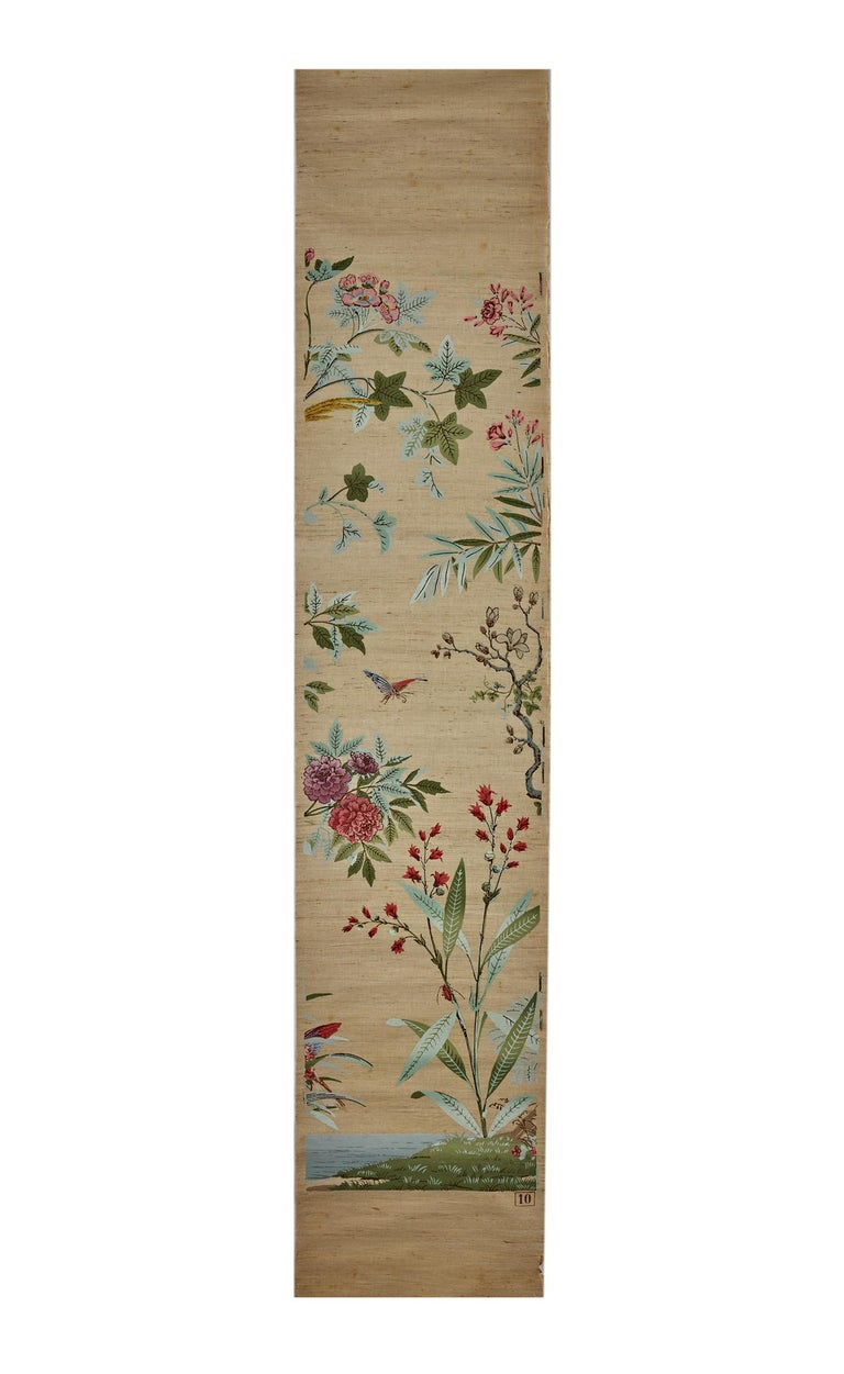 French Zuber, 'Decor Chinois' Hand Wood Blocked on Grasscloth Scenic Wallpaper For Sale