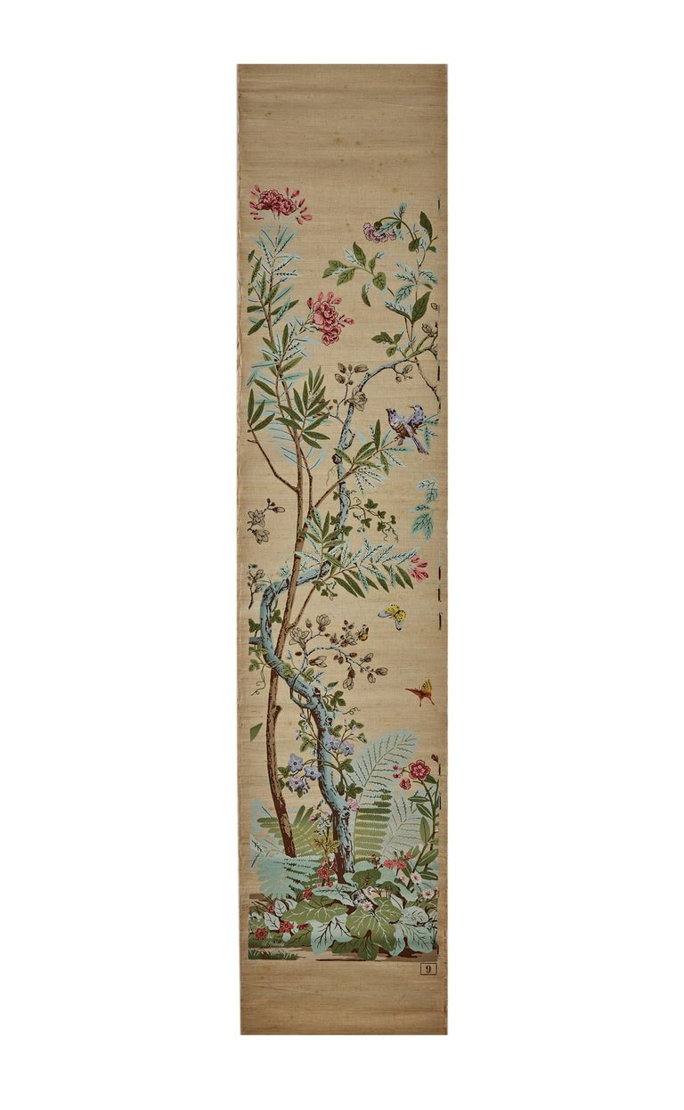 Zuber, 'Decor Chinois' Hand Wood Blocked on Grasscloth Scenic Wallpaper In Good Condition For Sale In Rixheim, FR