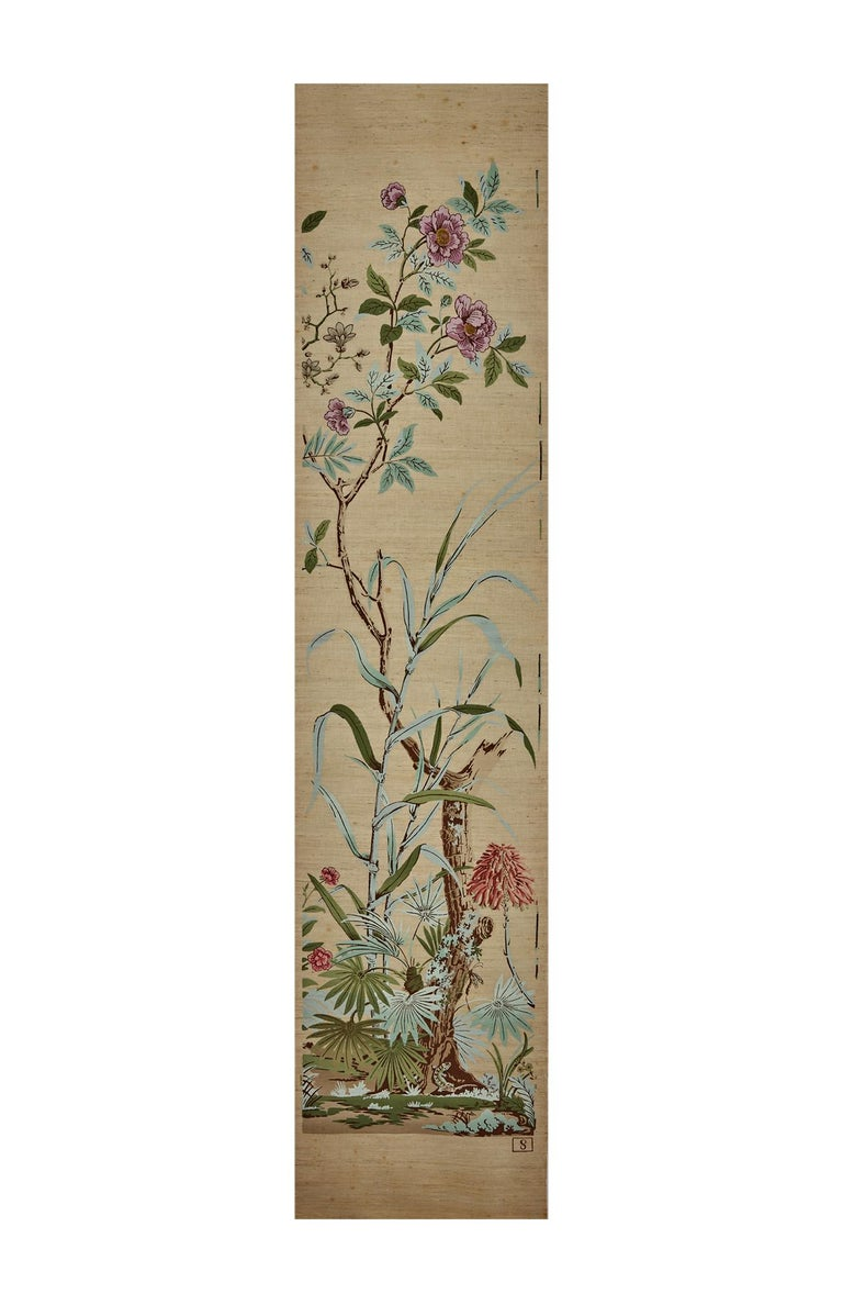 19th Century Zuber, 'Decor Chinois' Hand Wood Blocked on Grasscloth Scenic Wallpaper For Sale