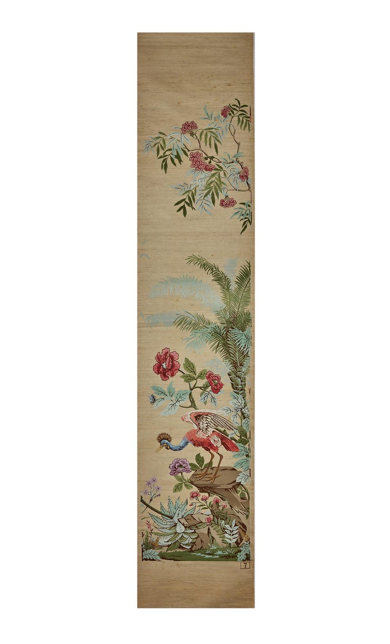 Zuber, 'Decor Chinois' Hand Wood Blocked on Grasscloth Scenic Wallpaper For Sale 1