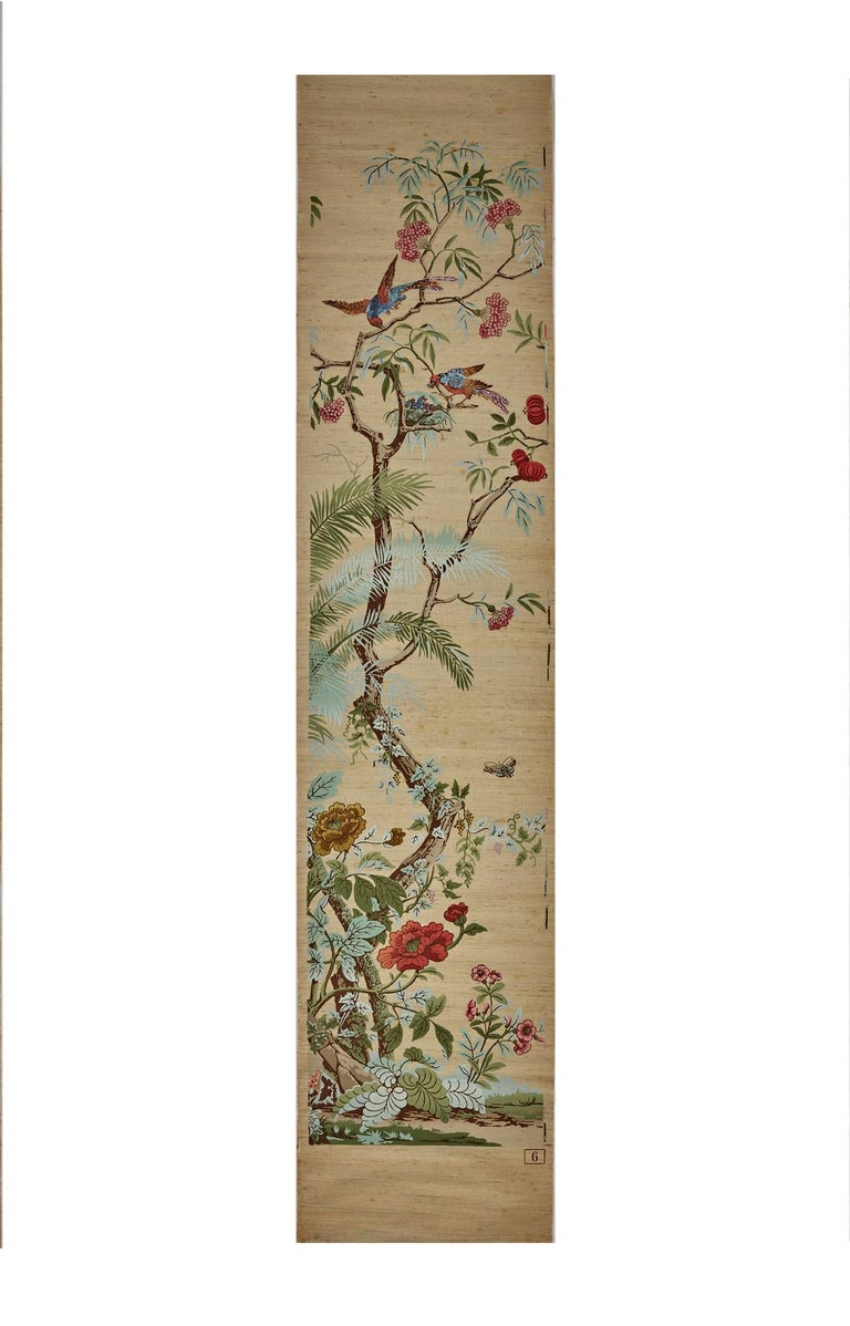 Zuber, 'Decor Chinois' Hand Wood Blocked on Grasscloth Scenic Wallpaper For Sale 2