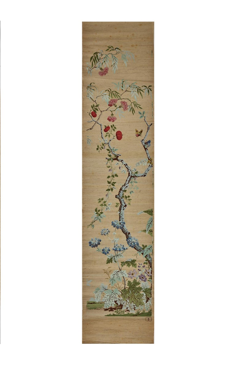 Zuber, 'Decor Chinois' Hand Wood Blocked on Grasscloth Scenic Wallpaper For Sale 3
