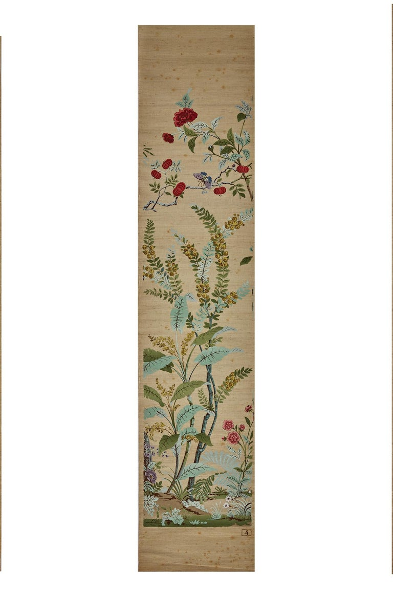 Zuber, 'Decor Chinois' Hand Wood Blocked on Grasscloth Scenic Wallpaper For Sale 4