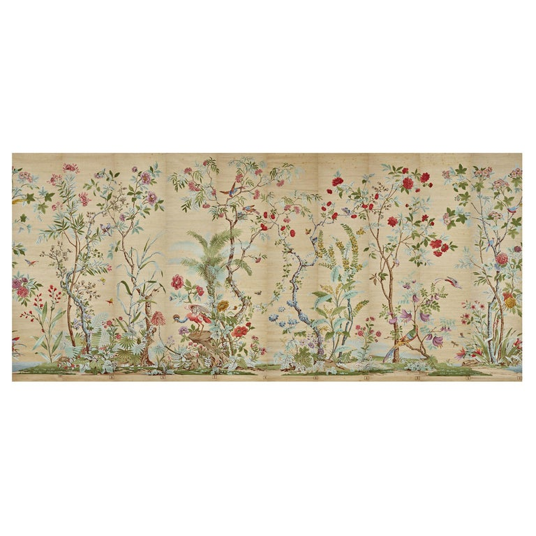 Zuber, 'Decor Chinois' Hand Wood Blocked on Grasscloth Scenic Wallpaper For Sale