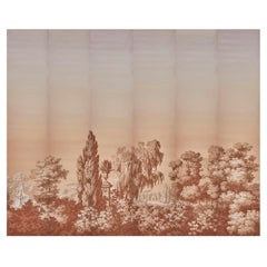 Zuber, 'Les Lointains Sanguine' Hand Wood Blocked Scenic Wall Paper