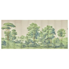 Zuber, Paysage Italian' Hand Wood Blocked Scenic Wall Paper in Green