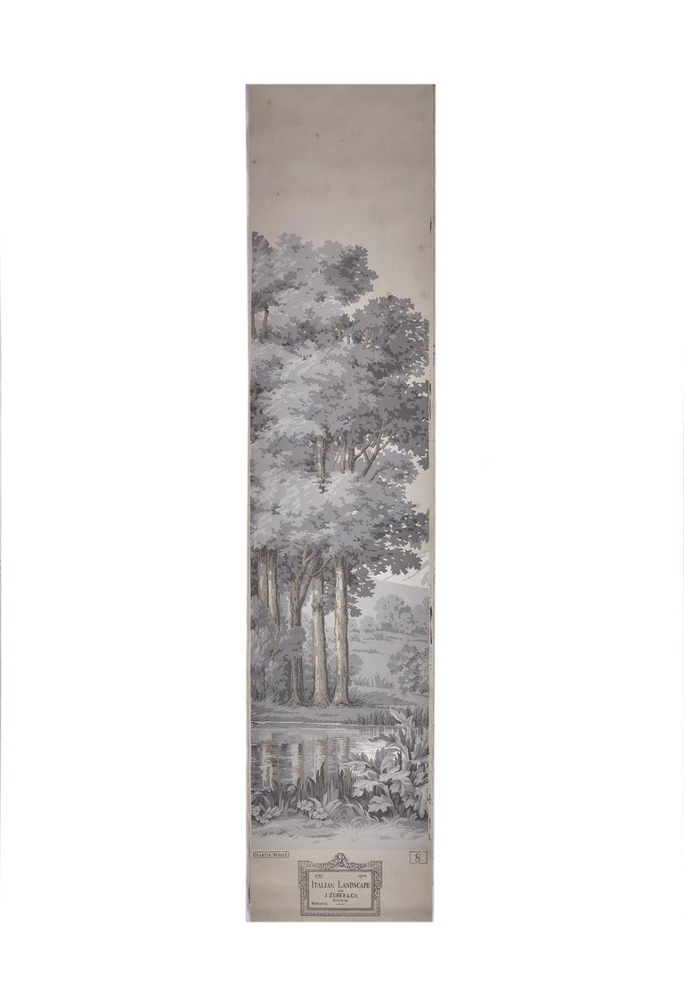 Zuber, 'Paysage Italian' Hand Wood Blocked with 1793-1913 Printer's Stamp For Sale 3