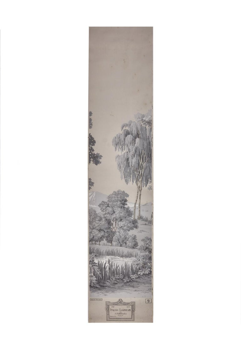 Zuber, 'Paysage Italian' Hand Wood Blocked with 1793-1913 Printer's Stamp For Sale 4
