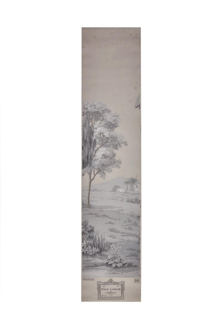 Zuber, 'Paysage Italian' Hand Wood Blocked with 1793-1913 Printer's Stamp For Sale 5