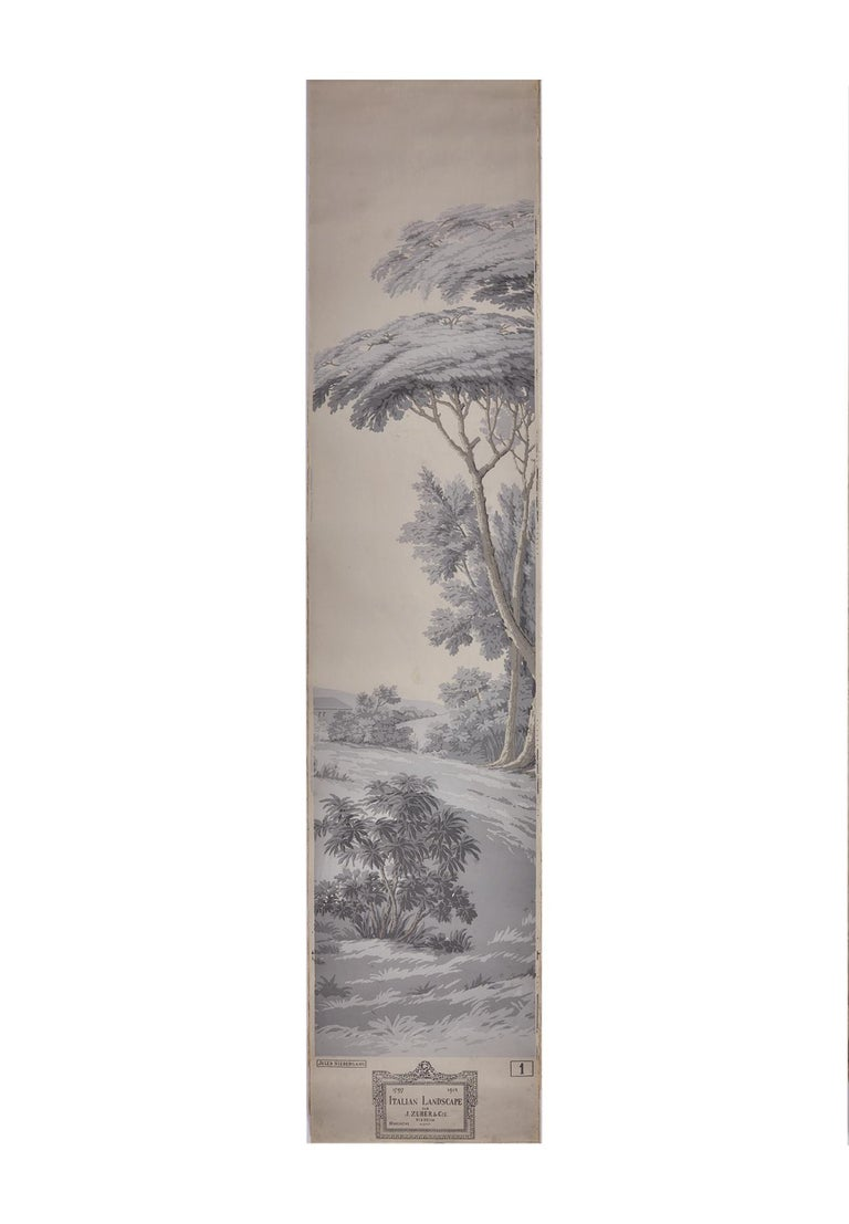 Other Zuber, 'Paysage Italian' Hand Wood Blocked with 1793-1913 Printer's Stamp For Sale
