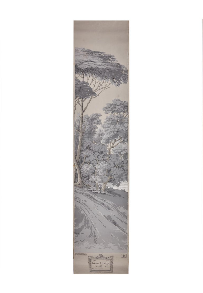 French Zuber, 'Paysage Italian' Hand Wood Blocked with 1793-1913 Printer's Stamp For Sale