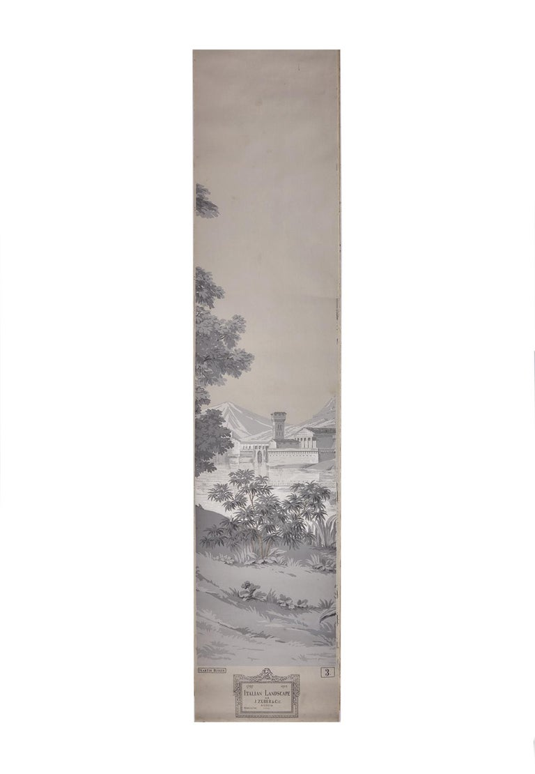Zuber, 'Paysage Italian' Hand Wood Blocked with 1793-1913 Printer's Stamp In Good Condition For Sale In Rixheim, FR