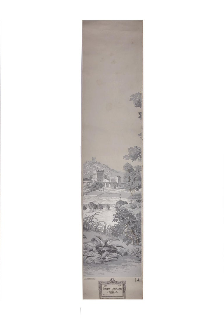 20th Century Zuber, 'Paysage Italian' Hand Wood Blocked with 1793-1913 Printer's Stamp For Sale