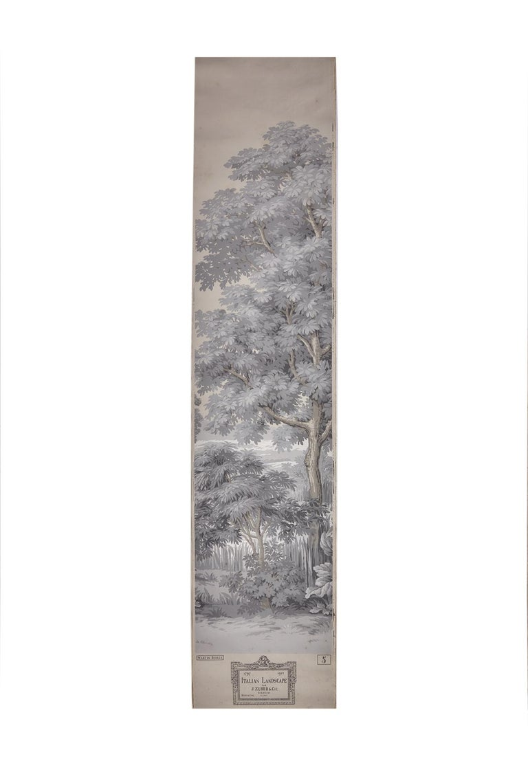 Paper Zuber, 'Paysage Italian' Hand Wood Blocked with 1793-1913 Printer's Stamp For Sale