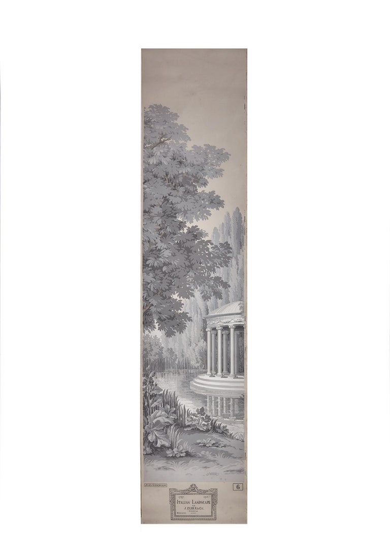 Zuber, 'Paysage Italian' Hand Wood Blocked with 1793-1913 Printer's Stamp For Sale 1