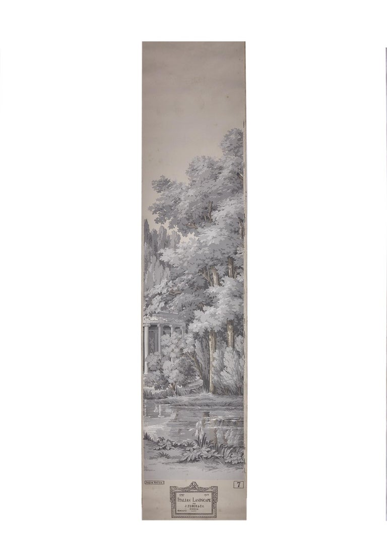 Zuber, 'Paysage Italian' Hand Wood Blocked with 1793-1913 Printer's Stamp For Sale 2
