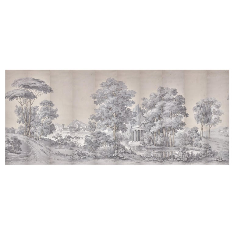 Zuber Paysage italien wood-blocked wallpaper with 1793–1913 printer's stamp, 20th century, offered by Zuber & Cie