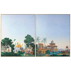 Zuber, The Hindoustan, Two Large Framed Wallpaper Panels, circa 1970