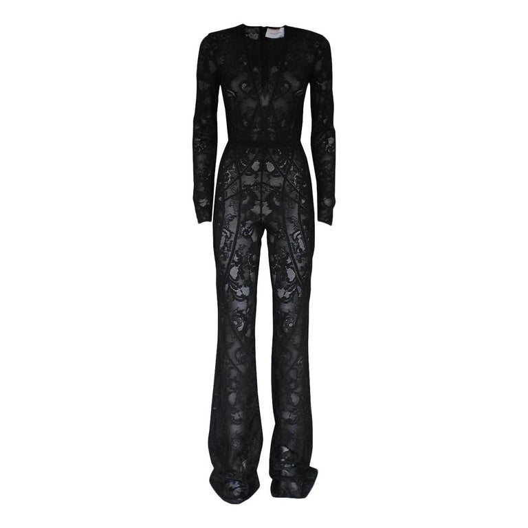 Zuhair Murad Black Lace Overall It 40 For Sale