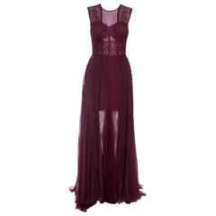 Zuhair Murad Burgundy Silk Blend Lace Bodice Evening Gown M