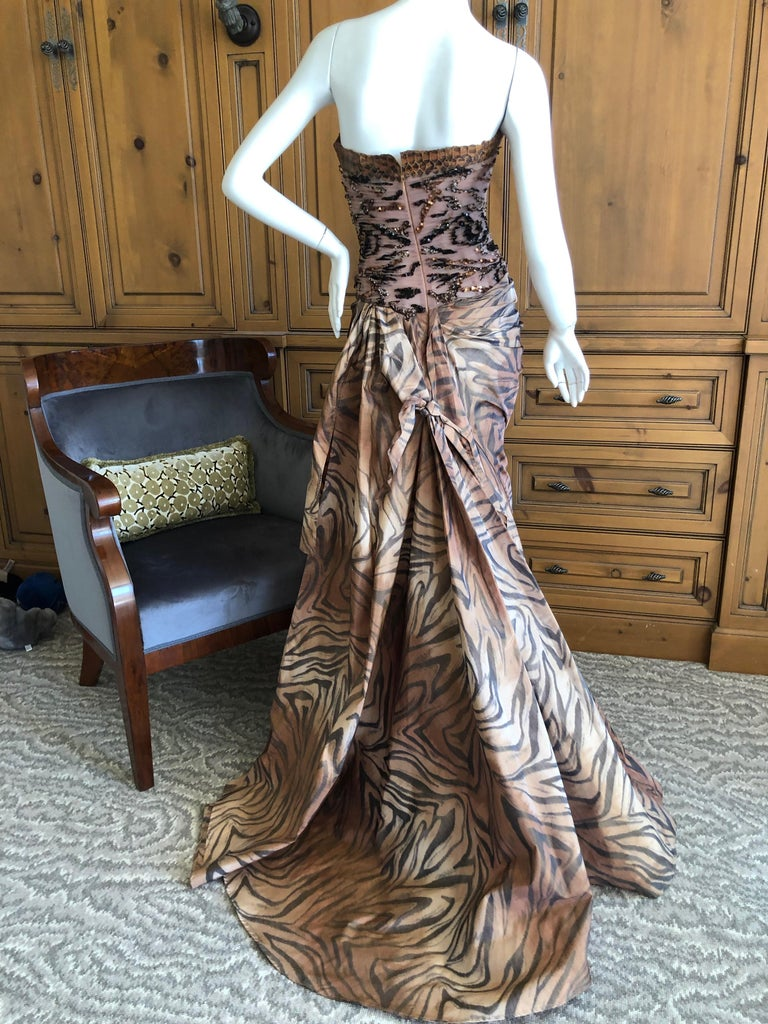 Zuhair Murad Haute Couture VIntage Tiger Print Silk Evening Gown w Inner Corset 6