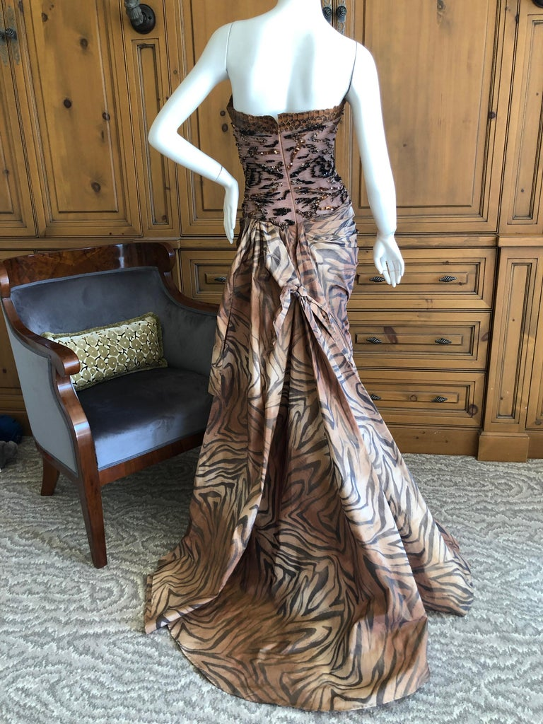 Zuhair Murad Haute Couture VIntage Tiger Print Silk Evening Gown with Inner Corset. This is spectacular. There is an inner boned corset and train. Trimmed in some type of reptile, I'm not certain if it is snake or alligator. Sequin on netting at the