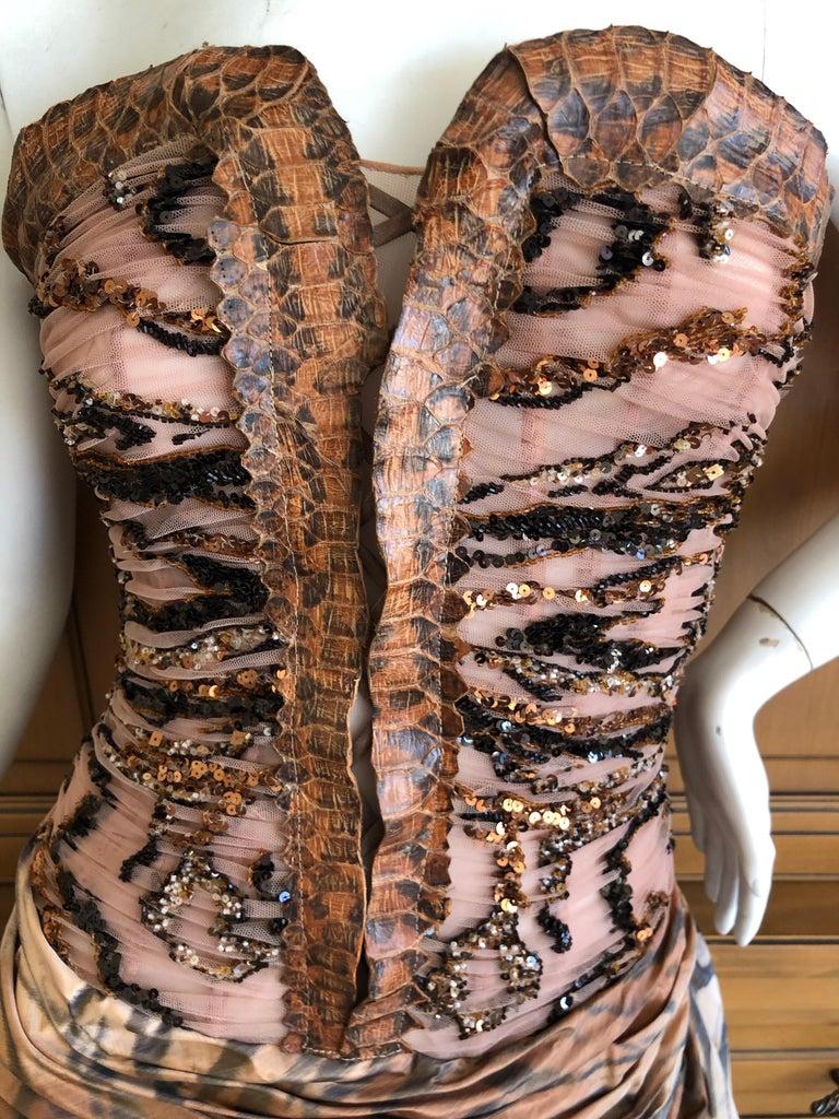 Women's Zuhair Murad Haute Couture VIntage Tiger Print Silk Evening Gown w Inner Corset