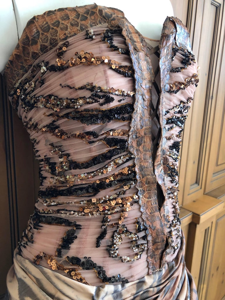 Zuhair Murad Haute Couture VIntage Tiger Print Silk Evening Gown w Inner Corset 1