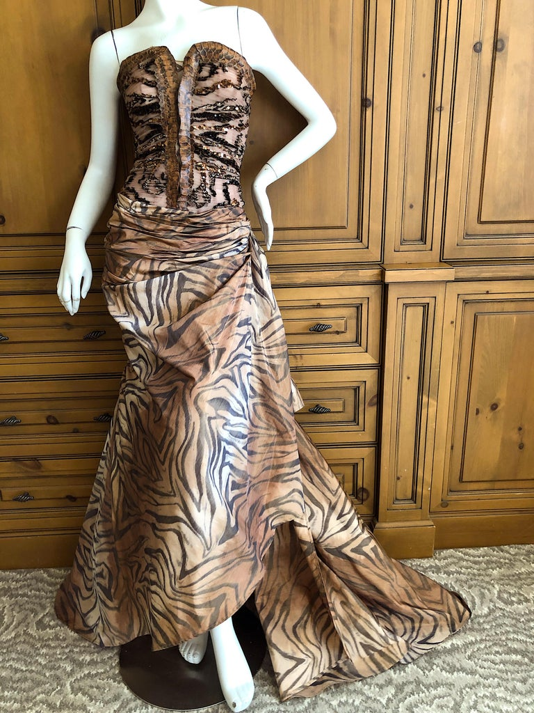 Zuhair Murad Haute Couture VIntage Tiger Print Silk Evening Gown w Inner Corset 2