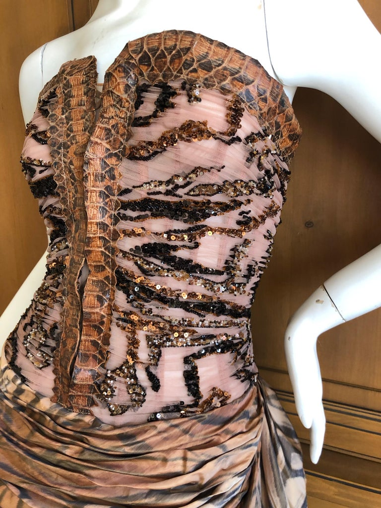 Zuhair Murad Haute Couture VIntage Tiger Print Silk Evening Gown w Inner Corset 3